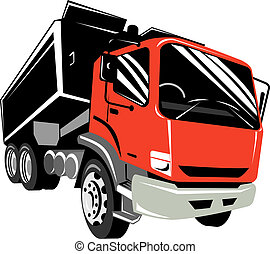 Front view of a red dump truck