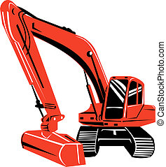 Front view of a red excavator