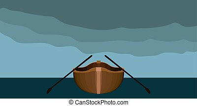 Front view of a rowboat in a landscape