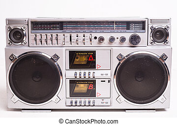 Front View of a Vintage Boom Box Cassette Tape Player ...