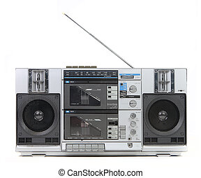 Front View of a Vintage Boom Box Cassette Tape Player...