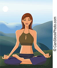 Front view of a woman doing yoga