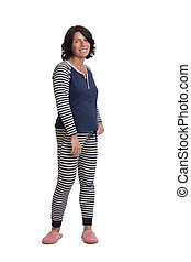 front view of a woman in pajamas on white background,