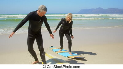 Front view of active senior Caucasian couple practicing to ...