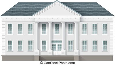 Front view of administrative governmental building. Traditional classic architecture of building with beautiful entrance and columns.