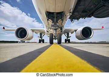 Front view of airplane at airport