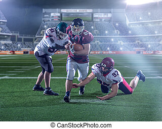 Front view of American football players in action