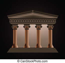 Front view of an antique greek temple in the evening. Vector