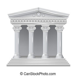 Front view of an antique greek temple. Vector illustration