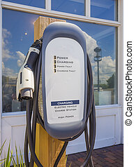 electric car charging station. - Front view of an electric ...
