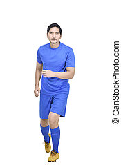 Front view of asian soccer player with blue jersey