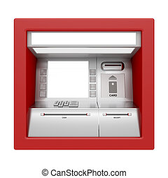 Front view of ATM machine isolated on white