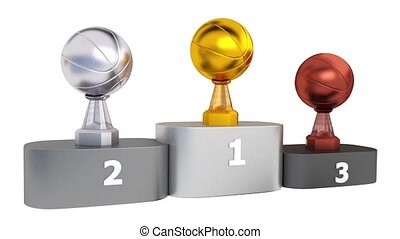 Front View of Basketball Gold Silver and Bronze Trophies in Infinite Rotation on Podium
