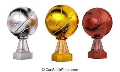 Front View of Basketball Gold Silver and Bronze Trophies in Infinite Rotation