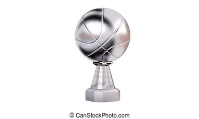 Front View of Basketball Silver Trophy in Infinite Rotation