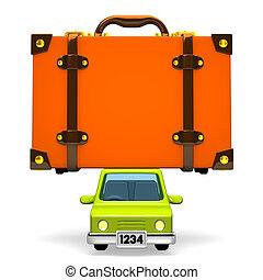 Big Travel Luggage On Car