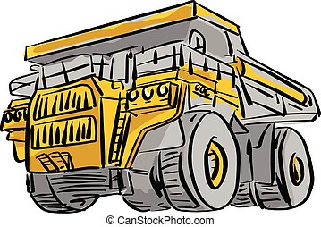 front view of big yellow mining truck vector illustration sketch hand drawn with black lines isolated on white background