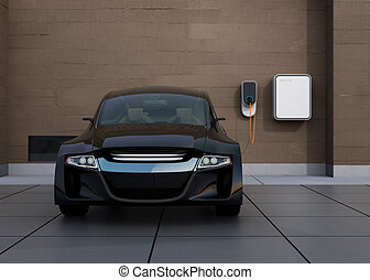 Front view of black electric car charging at home charging station