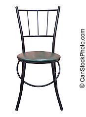 Front View of Black Metal Chair with Leather Seat Isolated on White Background with Clipping Path