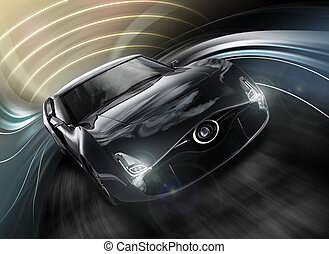 Front view of black sports car