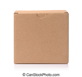 Front view of blank brown cardboard box