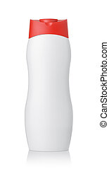 Front view of blank plastic cosmetics bottle