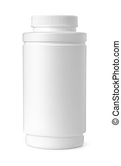 Front view of blank plastic medical bottle