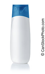 Front view of blank plastic shampoo bottle