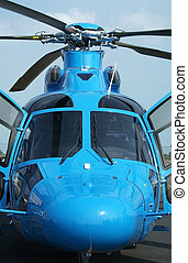 Front view of blue helicopter