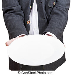 front view of businessman holds empty white plate