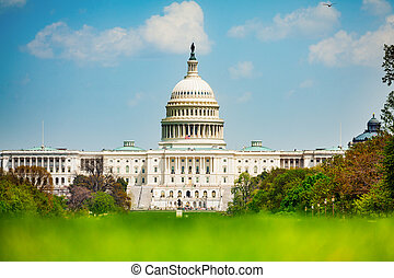 Front view of Capital Building facade, Washington