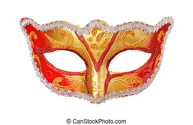 Front view of carnival mask isolated on white