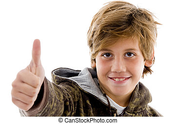 front view of cheer kid with thumbs up