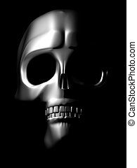 front view of chrome skull - iron skull coming out of the...