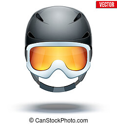 Front view of Classic black Ski helmet and snowboard goggles. Vector isolated on white background