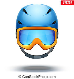 Front view of Classic blue Ski helmet and orange snowboard goggles. Vector isolated on white background