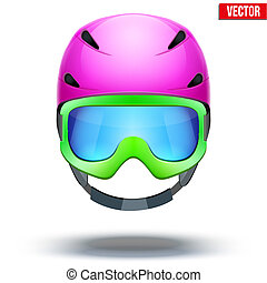 Front view of Classic pink Ski helmet and green snowboard goggles. Vector isolated on white background