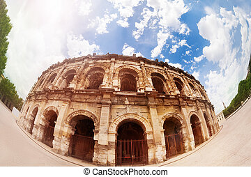 Front view of Coliseum amphitheater in Nimes