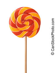 Front view of colorful swirl lollipop