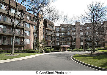 Front view of condominium complex