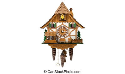 Front view of cuckoo clock animation - 3D animation seamlessly loopable