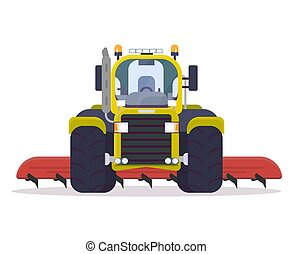 Front view of cultivator tractor - Front view of tractor for...