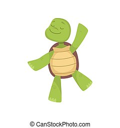 Front view of cute smiling green turtle standing on one leg and dancing with closed eyes isolated on white background