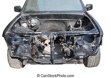 front view of damage light pick up truck with no engine waiting