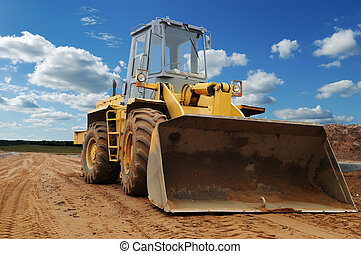 Front view of diesel wheel loader bulldozer