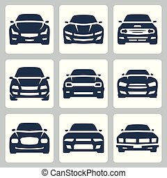 Front view of different cars, vector icon set