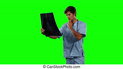 Front view of doctor watching X-ray with green screen
