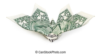 Front view of dollar origami butterfly isolated