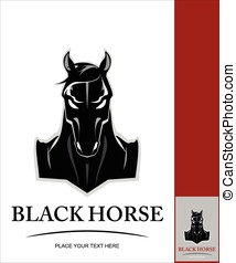 front view of Elegant black horse - front view of Elegant...