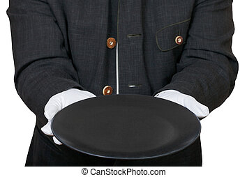 front view of empty black plate in hands in gloves